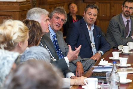 l-r Martin Kay Bespoke Concrete, Prof. Allan Gibb OBE, 'Jerry Hall.MD Decide.www.wearedecide.com' House of Lords, Palace of Westminster