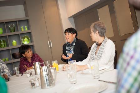 l-r,Mariam Tun Sulaiman,Deborah McGargle MD Paticularlegal.com,Ayesha Harben, Deborah talking about the thriving NE service sector. Cafe 21 Newcastle